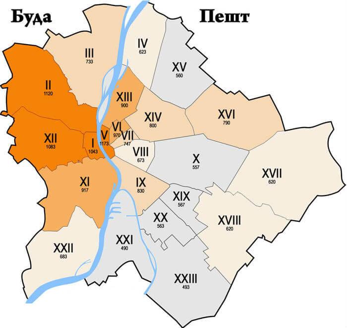 Мапа Будапешта з розмежуванням по районам